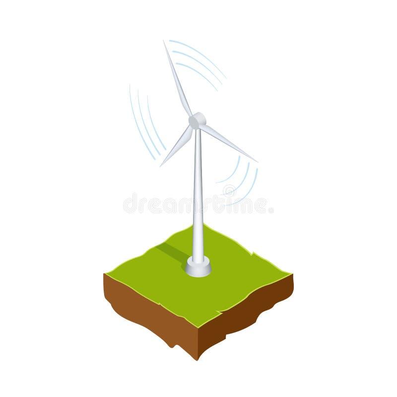 Gerador ou moinho de vento Fonte de energia renovável O método da produção de eletricidade sem poluição Vetor ilustração royalty free
