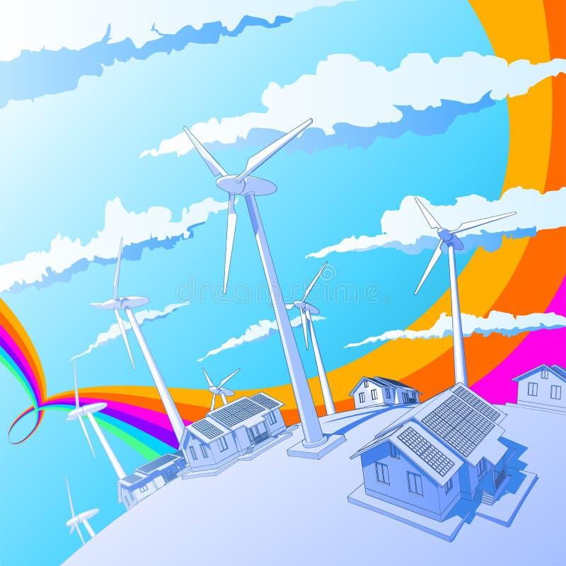 Geradores & casas de vento ilustração stock