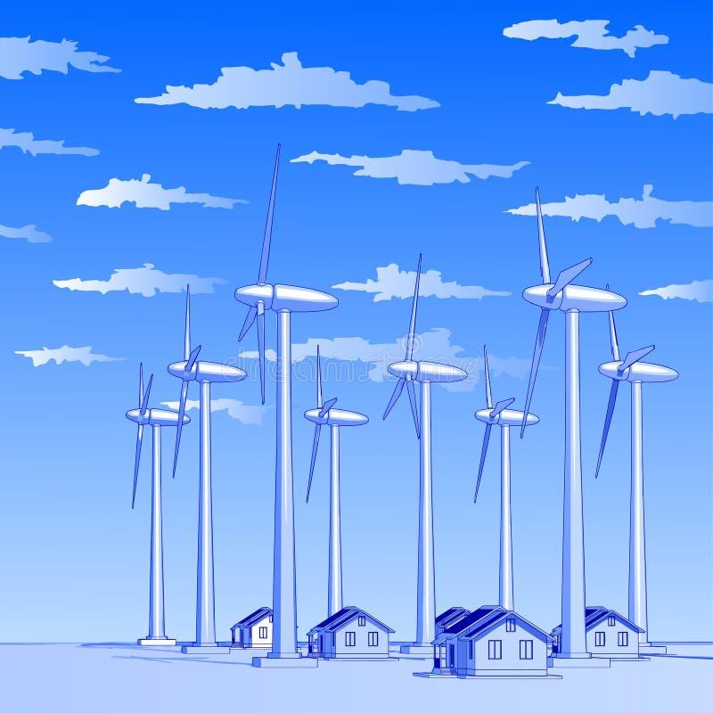 Geradores & casas de vento ilustração royalty free