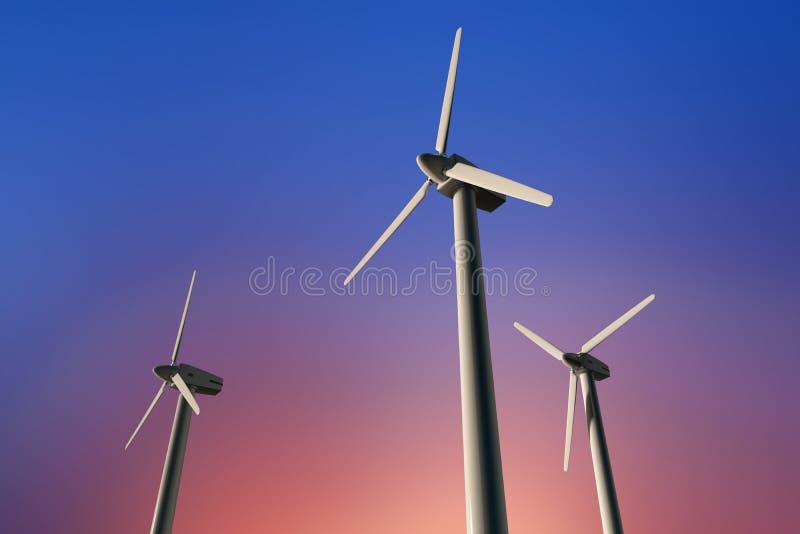 Geradores de eletricidade de turbina eólica num céu ensolarado, ângulo baixo fotografia de stock royalty free