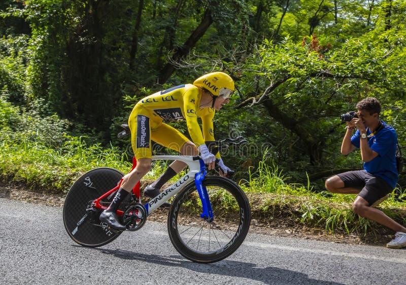 Geraint Thomas - le gagnant du Tour de France 2018 image libre de droits
