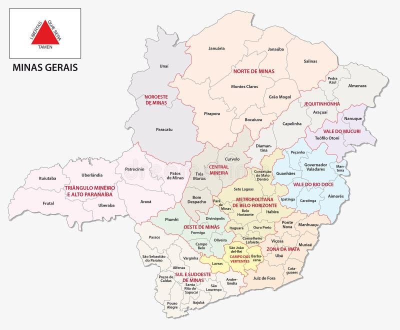 Gerais de Minas administrativos e mapa político com bandeira ilustração do vetor
