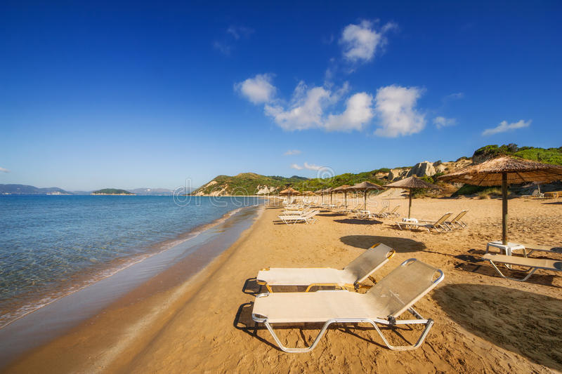 Gerakas beach (protected Caretta Caretta turtle nesting site) on Zakynthos island. Greece royalty free stock photography