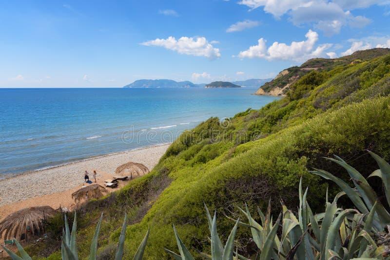 Gerakas plaża na Zakynthos wyspie, Grecja Ochraniający gniazdujący miejsce Caretta Caretta żółw obrazy royalty free