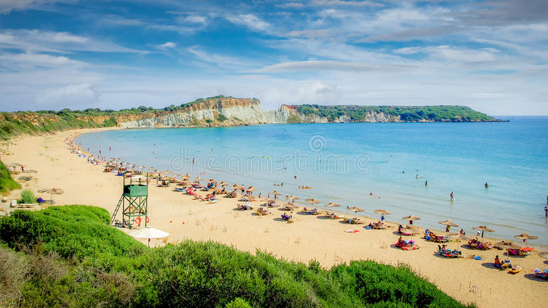 Gerakas-Strand auf Zakynthos-Insel, Griechenland lizenzfreie stockfotografie