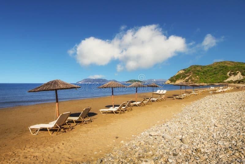 Gerakas-Strand (geschützter Caretta Carettaschildkröten-Nistplatz) auf Zakynthos-Insel lizenzfreies stockfoto