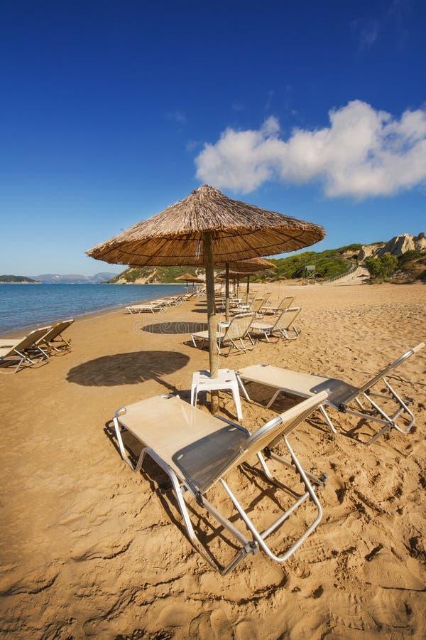 Gerakas-Strand (geschützter Caretta Carettaschildkröten-Nistplatz) auf Zakynthos-Insel stockbild