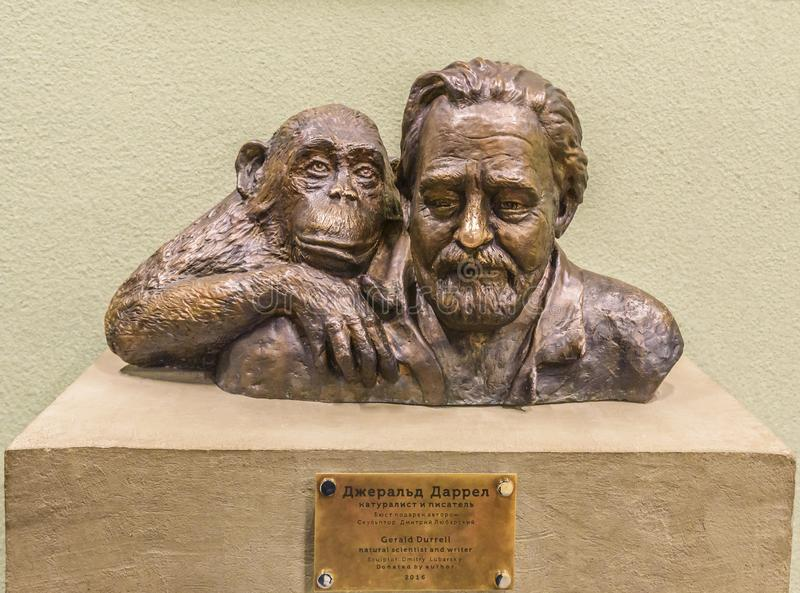 Gerald Malcolm Darrell is an English naturalist and writer. Bust in the Moscow Zoo. Russia. stock image