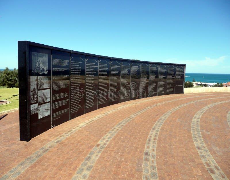 Geraldton, Westelijk 1 Australië-November, 2007: De Muur van Herinnering stock foto