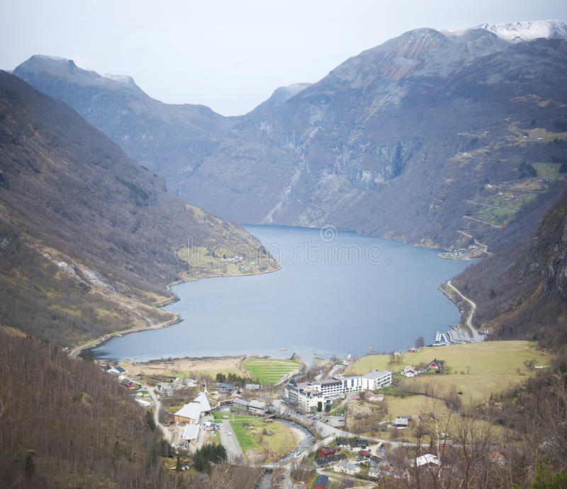 Geranger,挪威海湾 免版税图库摄影