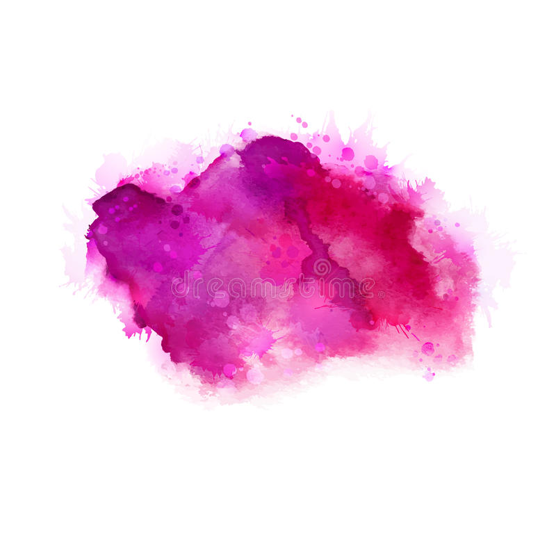 Geranium, hot pink and magenta watercolor stains. Bright color element for abstract artistic background. stock illustration