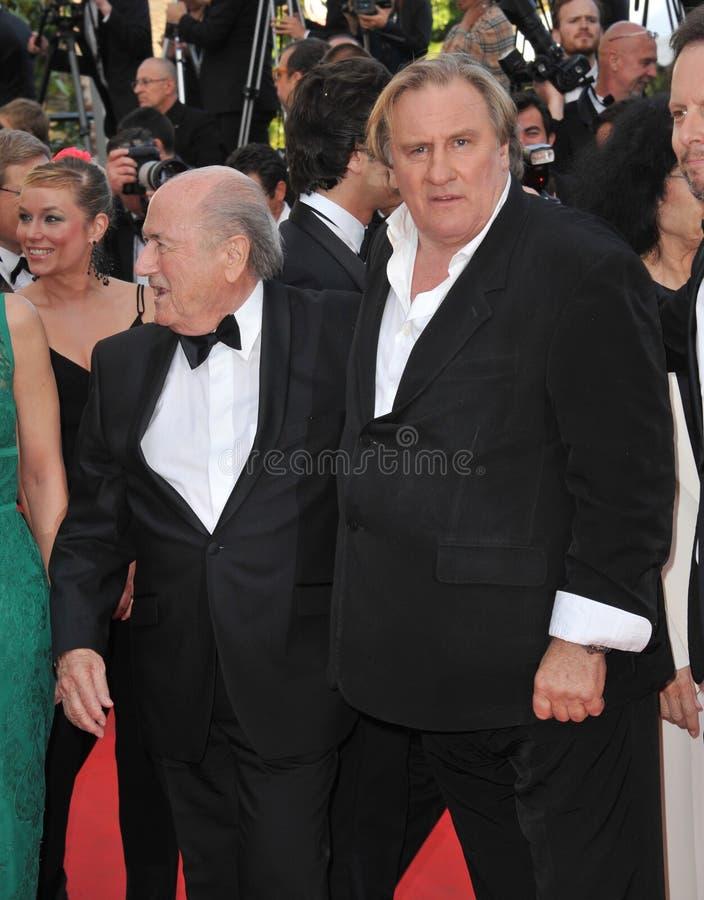 Gerard Depardieu & Sepp Blatter royalty-vrije stock foto's