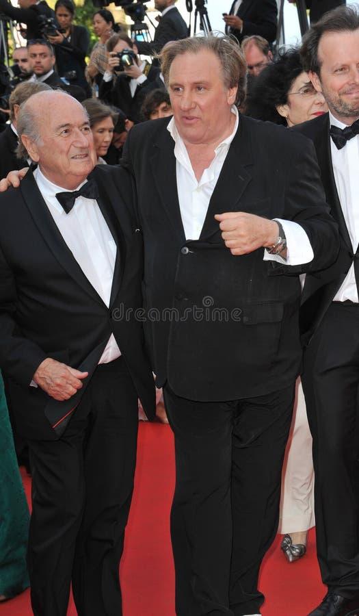 Gerard Depardieu & Sepp Blatter stock afbeelding