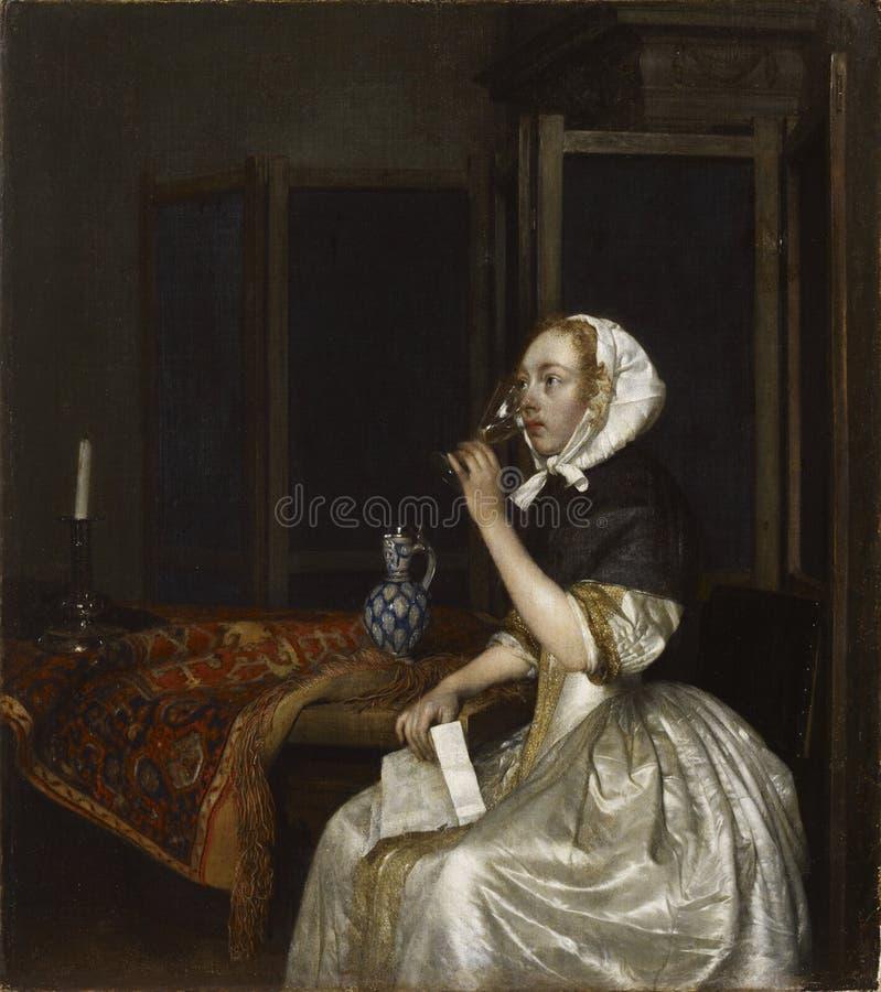 Gerard Ter Borch (1617−1681): Lady Seated Holding A Wineglass / Viiniä Juova Nainen Kirje Kädessään / Vindrickande Free Public Domain Cc0 Image