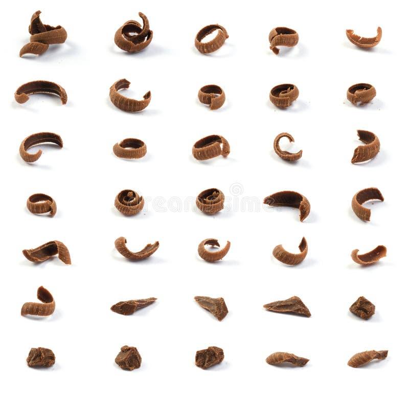 Geraspte chocoladestukken stock afbeelding