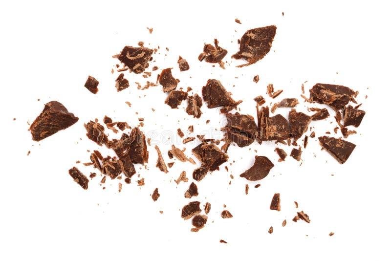 Geraspte die chocolade op witte achtergrond wordt geïsoleerd Hoogste mening royalty-vrije stock foto
