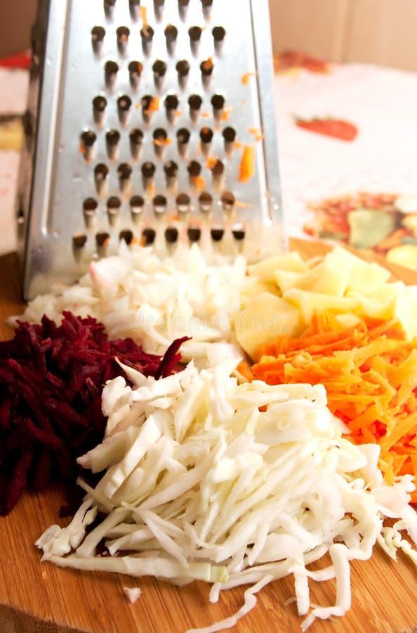 Geraspte verse groenten stock foto's