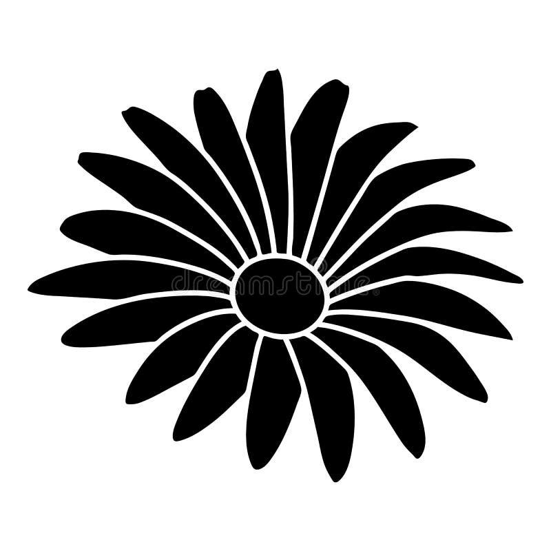 Gerber blommasymbol, enkel svart stil vektor illustrationer