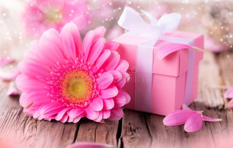 Gerber-Blume mit Geschenk lizenzfreie stockfotografie