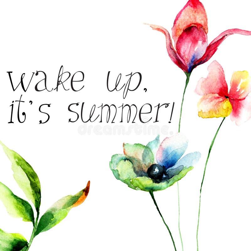Gerber och liljan som blommor med titel vaknar upp, det, är den nya dagen royaltyfri illustrationer