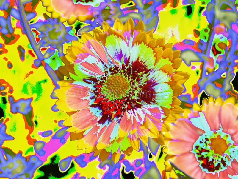 Gerber tusenskönor som ser psykedeliska vektor illustrationer