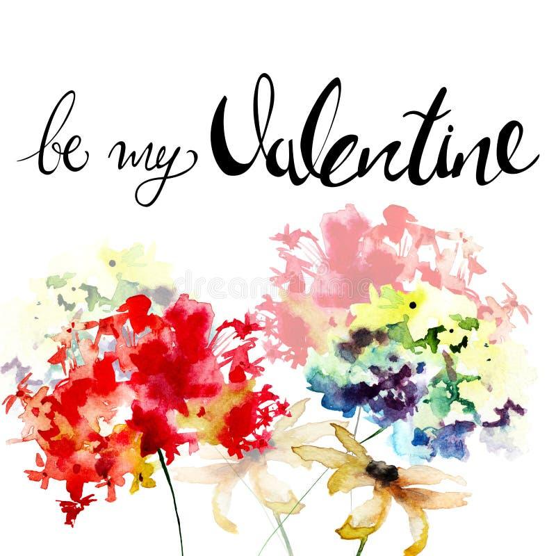 Gerber y la hortensia florece con título sean mi tarjeta del día de San Valentín ilustración del vector