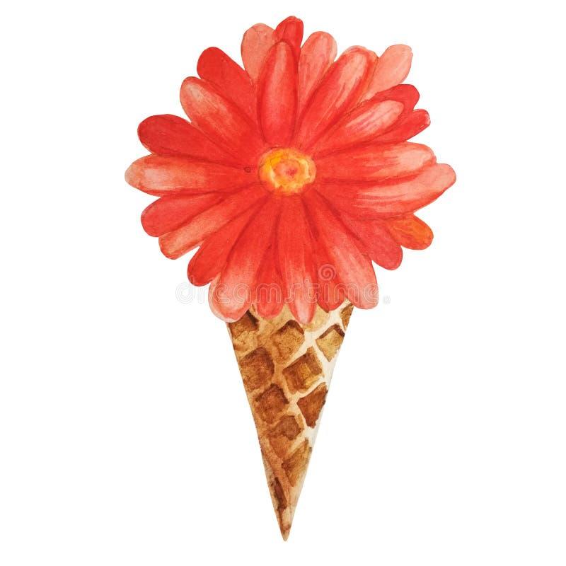 Gerbera alaranjado da aquarela em um cone do waffle ilustração do vetor