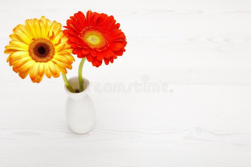 Gerbera amarillo y rojo en florero en la tabla de madera blanca Flor de la margarita en florero imagen de archivo libre de regalías