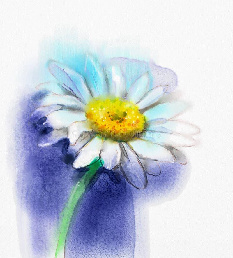 Gerbera blanc de peinture d'aquarelle abstraite, fleur de marguerite illustration libre de droits