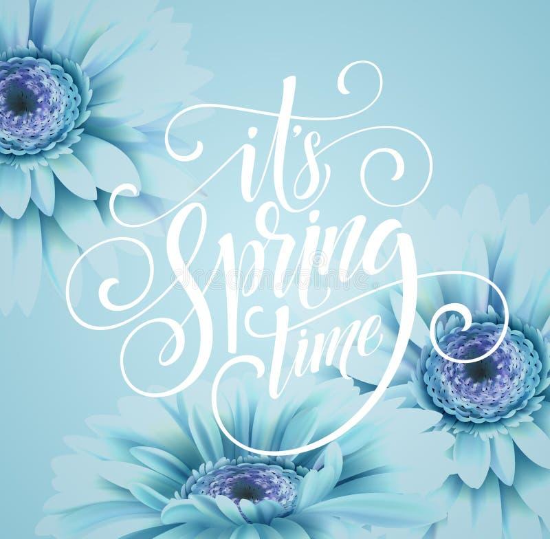 Gerbera-Blumen-Hintergrund-und Frühlings-Beschriftung Auch im corel abgehobenen Betrag vektor abbildung