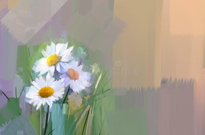 Oil painting White Gerbera, dasie flowers. stock illustration