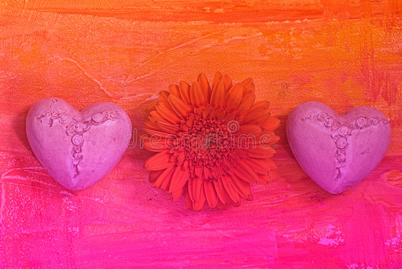 Download Gerbera and hearts stock image. Image of orange, daisy - 9474097