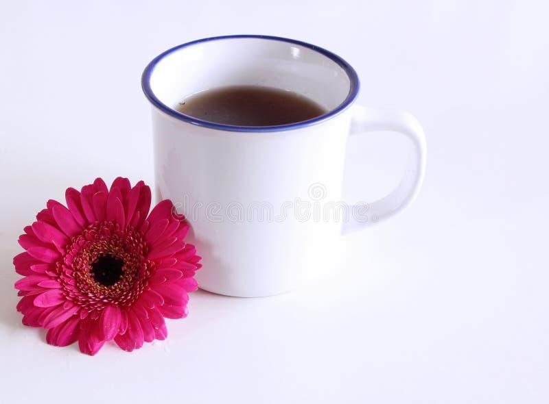 Gerberabloem en een hete kop thee op houten lijst De seizoengebonden, ochtendthee, Zondag ontspant en stillevenconcept Vrij royalty-vrije stock afbeelding