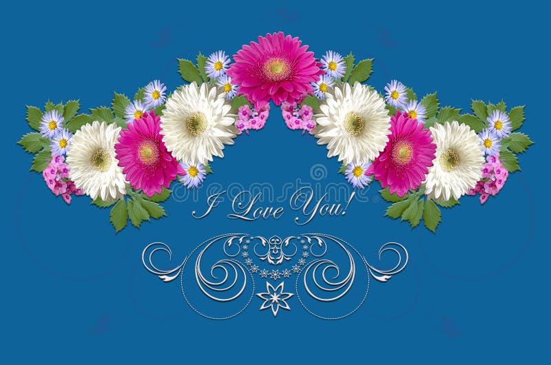 Gerberas carmesins e brancos, ásteres roxos pequenos e ornamento branco com cumprimento eu te amo no fundo azulado ilustração stock
