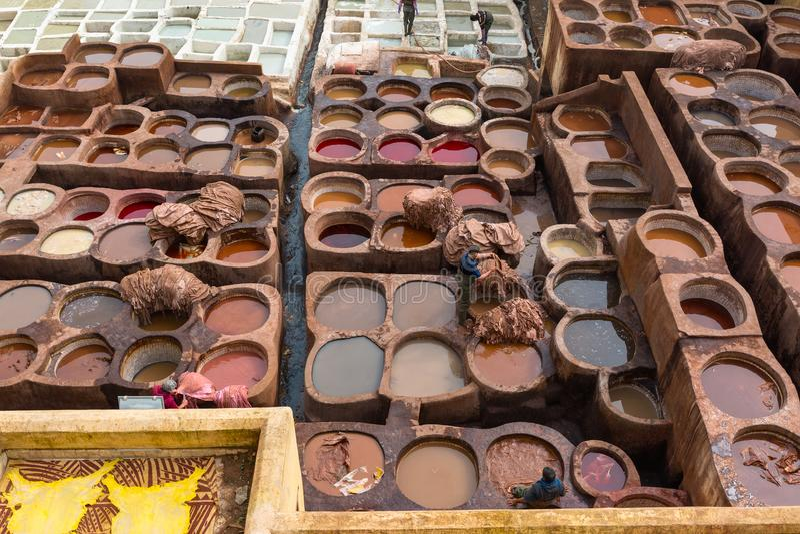 Gerberei von Fes, Marokko, Afrika lizenzfreies stockfoto