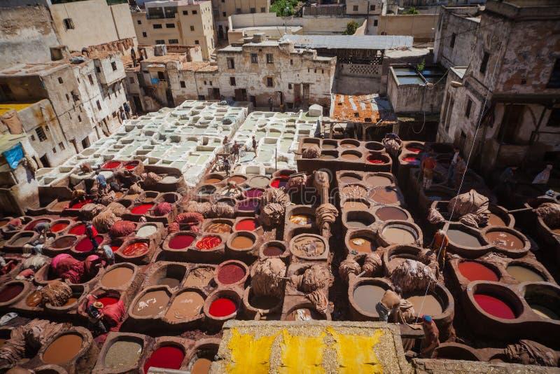 Gerberei von Fes, Marokko, Afrika stockfotografie
