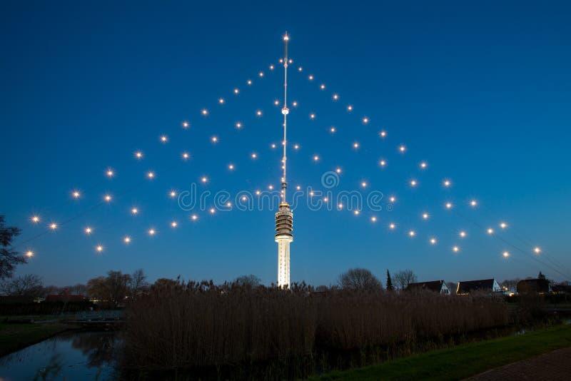 Gerbrandy塔-最大的圣诞树在世界上 图库摄影