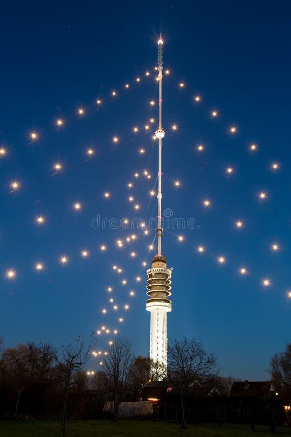 Gerbrandytoren - Grootste Kerstmisboom in de wereld stock afbeelding