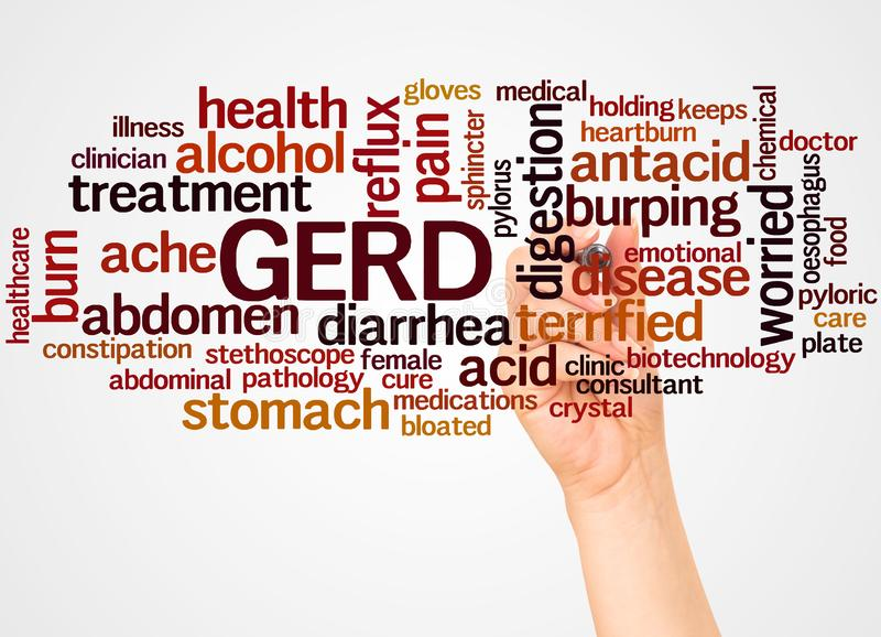 GERD word cloud and hand with marker concept stock photos