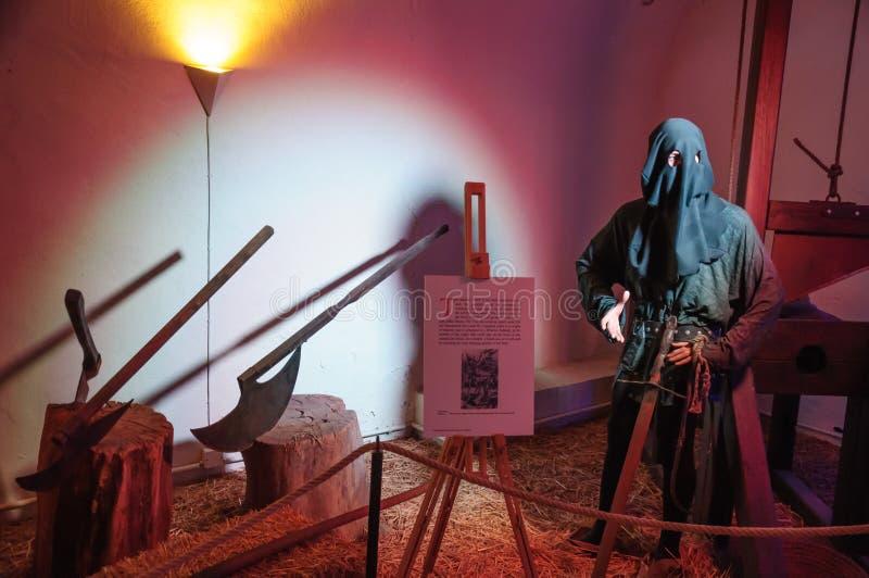 Gerechtelijk onderzoeker, torturer met een zwaard, Ruedesheim royalty-vrije stock foto's