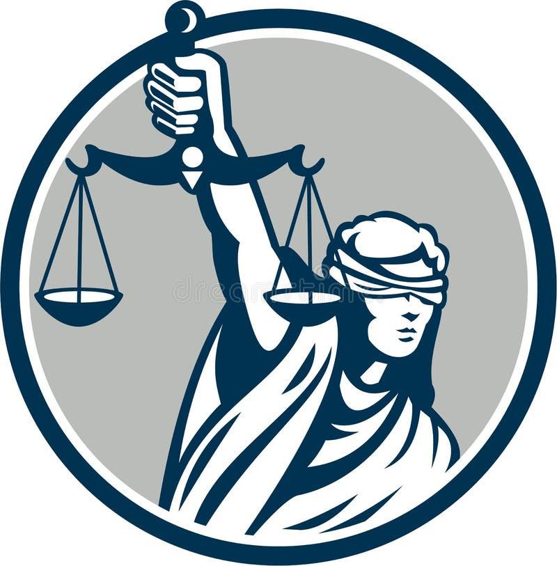 Gerechtigkeit Front Retro Damen-Blindfolded Holding Scales lizenzfreie abbildung