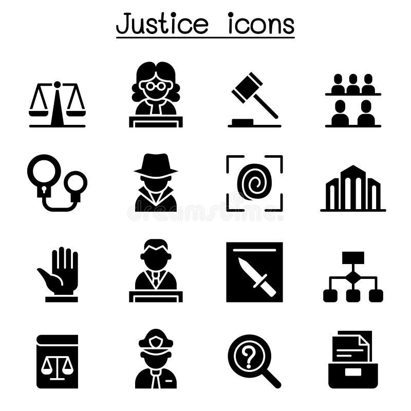 Gerechtigkeit, Gesetz, Gericht, legaler Ikonensatz vektor abbildung