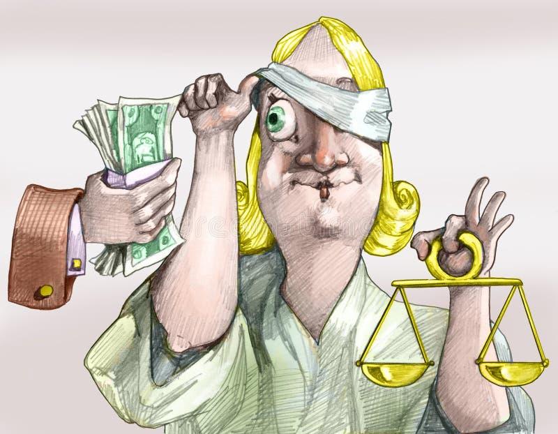 Gerechtigkeit ist nicht immer blinde politische Karikatur lizenzfreie abbildung