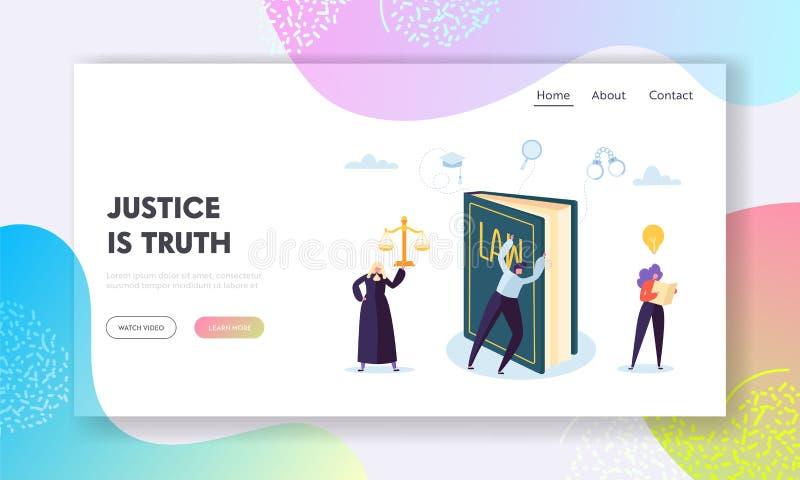 Gerechtigkeit ist Wahrheits-Landungs-Seite Basierte Interpretation Richter-Issues Rulings zur Hand des Gesetzes und eigenen persö stock abbildung