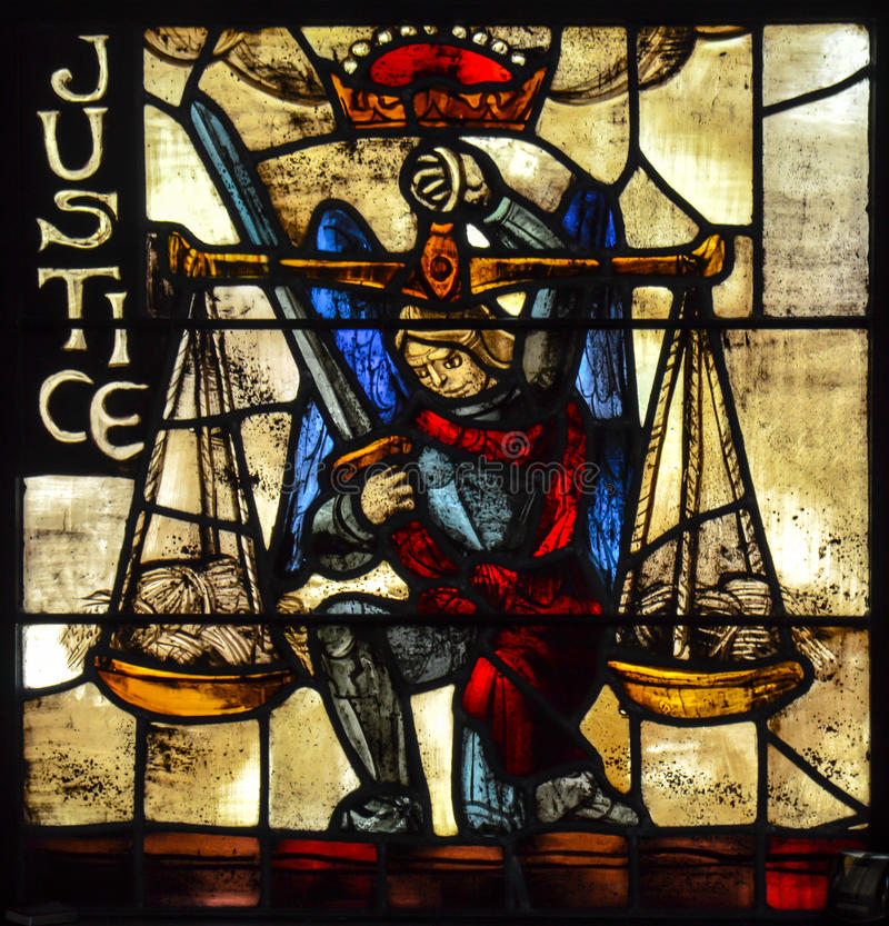 Gerechtigkeit Stained Glass stockbild
