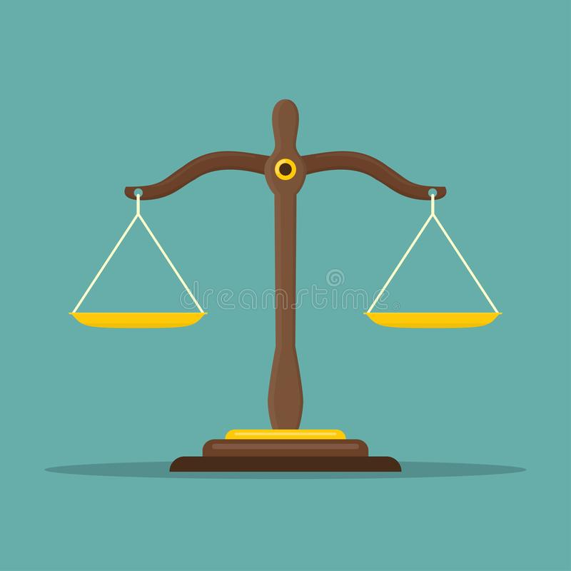 Gerechtigkeit stuft Ikone ein Gesetzesbalancensymbol Waage im flachen Design Auch im corel abgehobenen Betrag stock abbildung