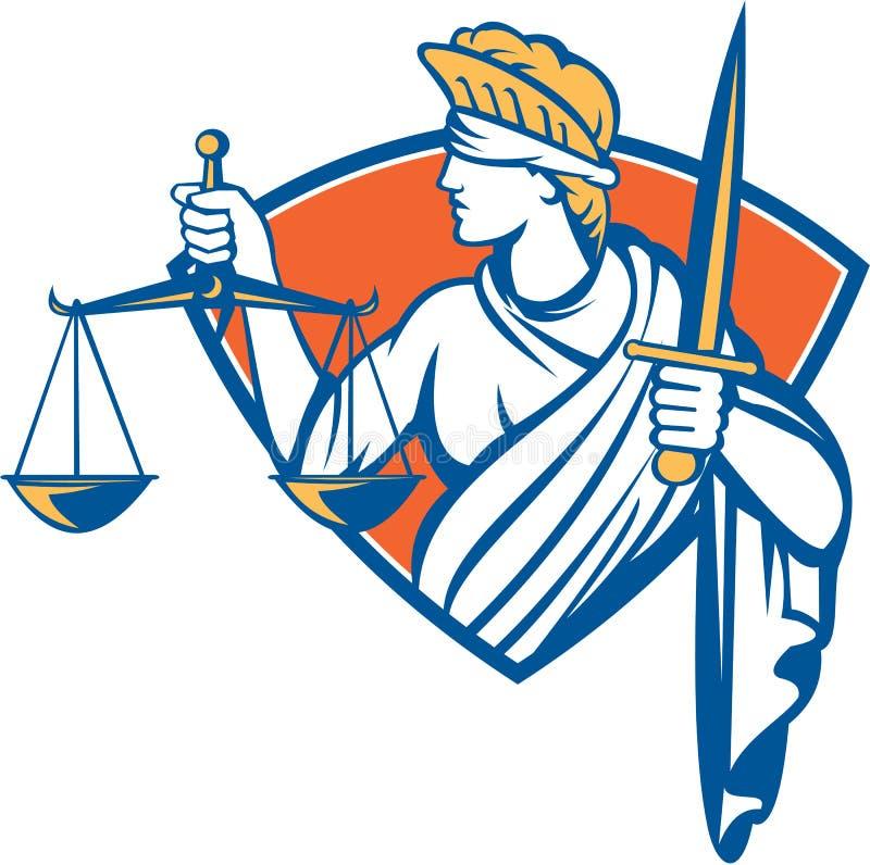 Gerechtigkeit Sword Damen-Blindfolded Holding Scales lizenzfreie abbildung