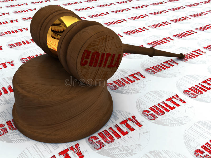 Gerechtigkeithammer und schuldiges stockbild