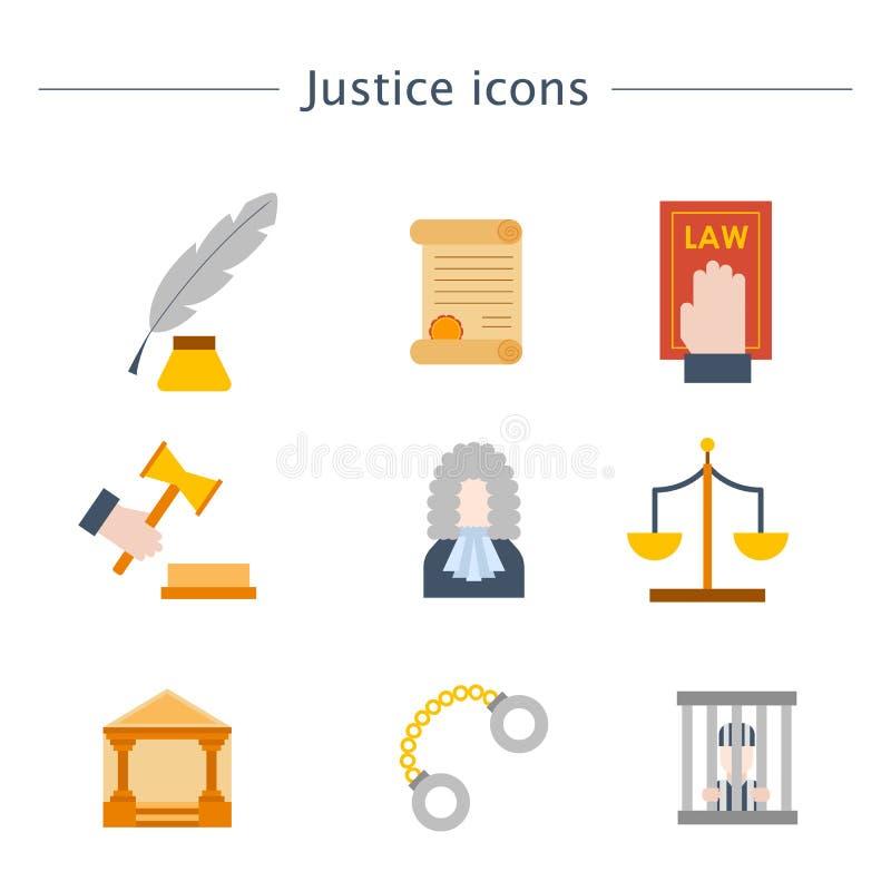 Gerechtigkeits-Ikonenhintergrund der Vektorkarikatur flacher Gesetzes lizenzfreie abbildung