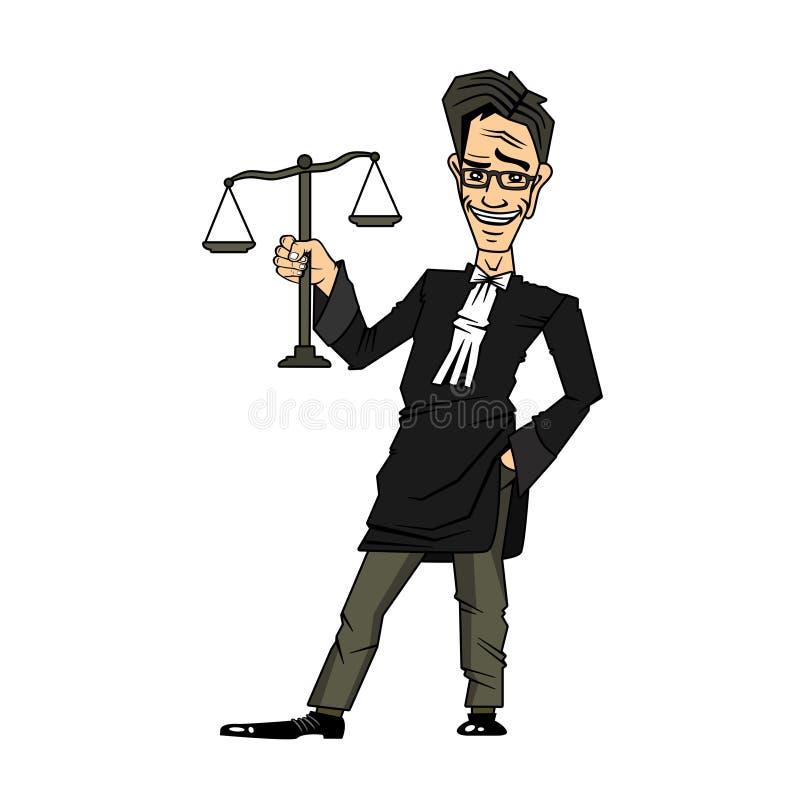 Gerechtigkeits-und Gesetzeszeichentrickfilm-figur, welche die Skalen von Gerechtigkeit hält stockfotos